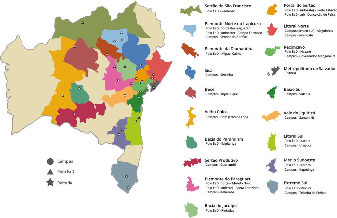 Mapa do IF Baiano na Bahia