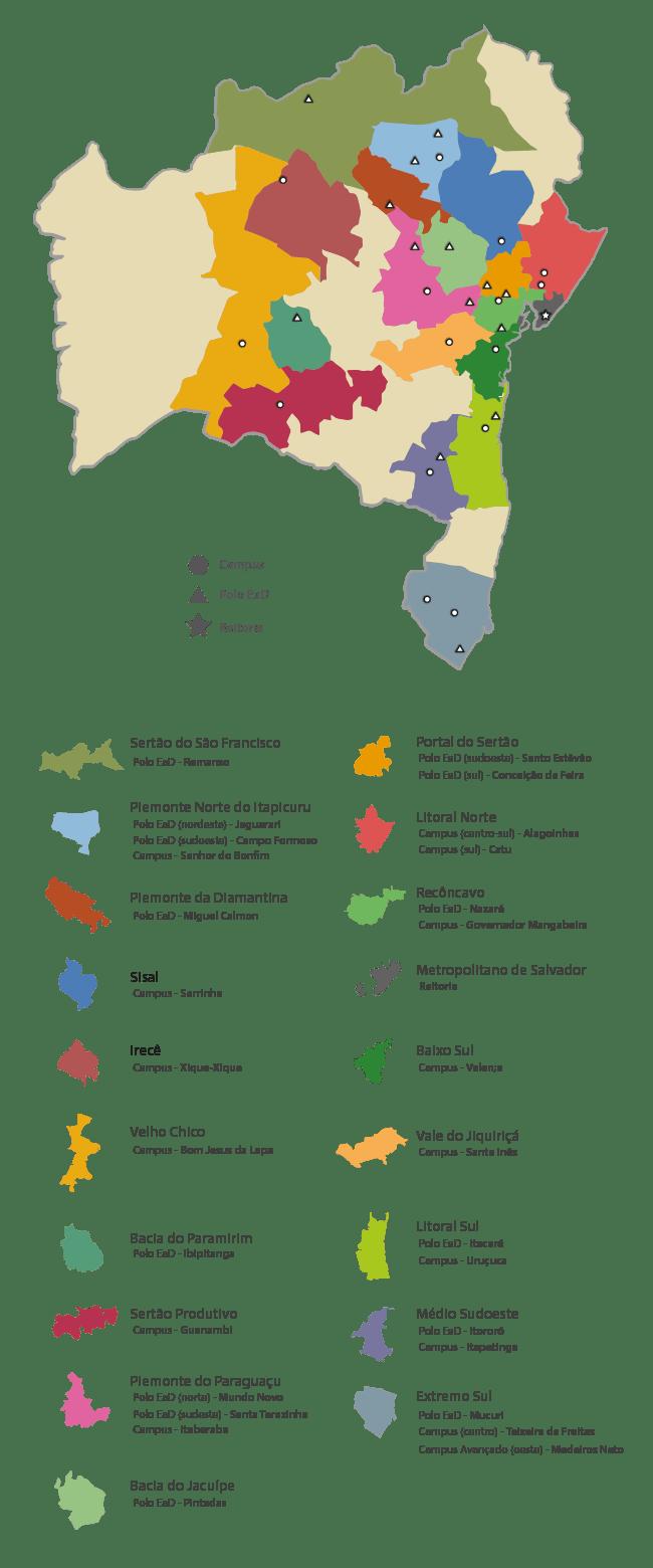 Mapa das unidades do Instituto Federal Baiano